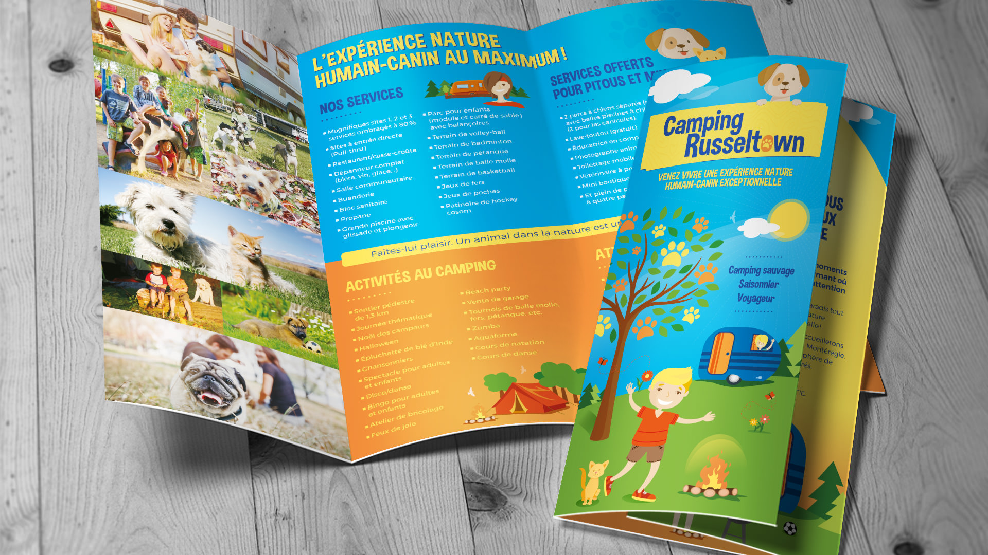 Camping Russeltown - depliant - site internet - carte d'affaire